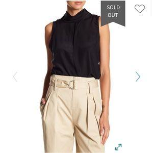 Frame High Neck Silk Blouse Size M